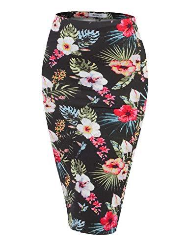 Doublju Stretch Knit Midi Pencil Skirt with Back Slit for Women with Plus Size TROPICALBLACK 3XL