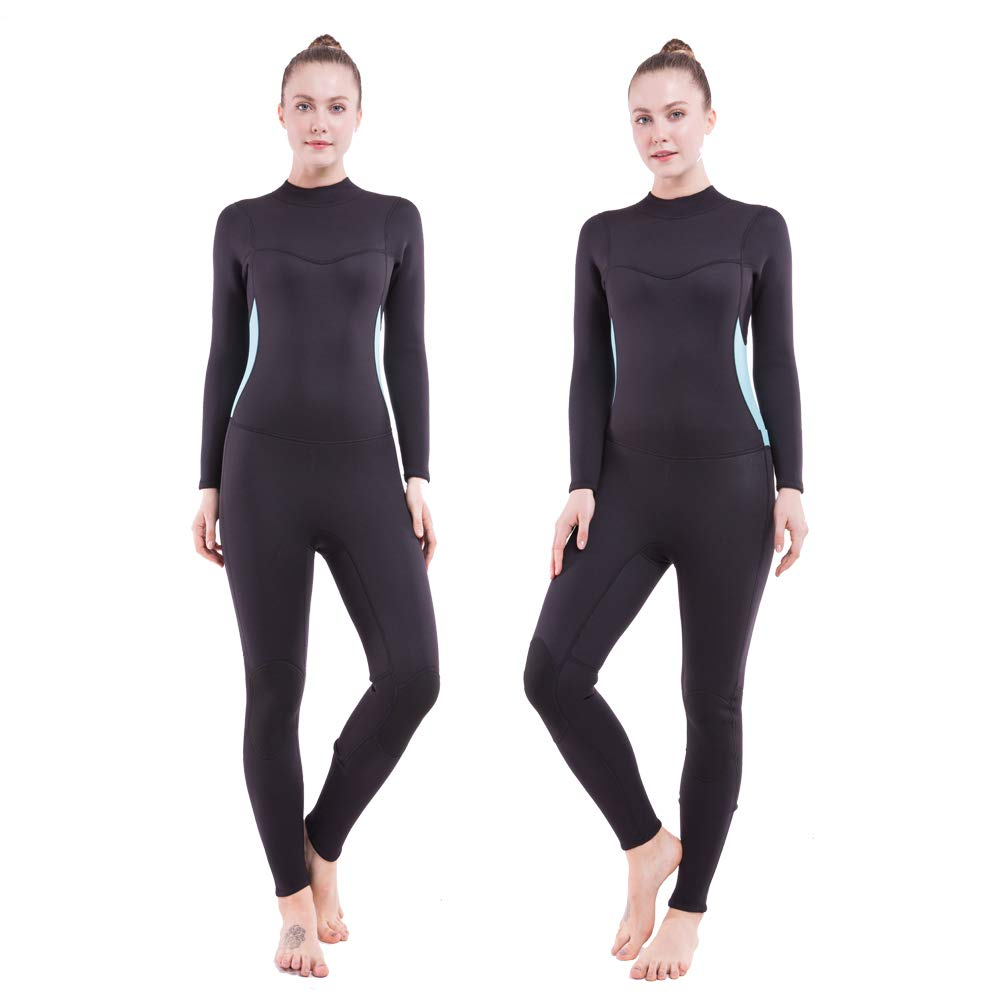 Flexel Full Wetsuit Womens Surf Wet Suit with 3mm Premium Neoprene Scuba Diving Suits for Swimming, Surfing, Snorkeling, Kayaking, Paddle Boarding Jumpsuits(Light Blue S)
