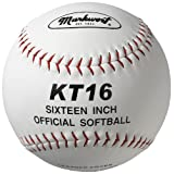 Markwort 16-Inch Leather Cover Softball White with Red Stitch (Each)