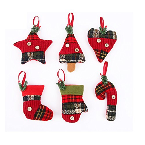 Stock Show Christmas Tree Ornaments Stocking Decorations 6Pcs Set Plaid Christmas Tree Stockings Candy Cane Star Glove Heart for Xmas Holiday Party New Year Decor, Red Plaid -