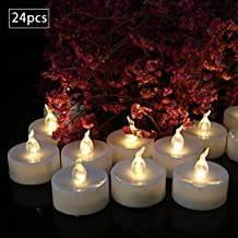 Warm White Battery Powered LED Tea Light Candles with Timer 6 Hrs on 18 Hrs Off in 24 Hours Cycle Flicker Flameless Candles Decorations Events Tealight Candles, Flameless Candles (24 PCS)