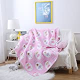 Ustide Baby Kids Quilts Cover for Cotbed Reversible Cotton Quilted Throw Blankets 110x130cm, Polka dot Girls