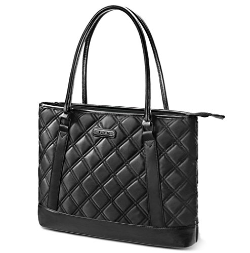 Laptop Tote Bag, DTBG 15.6 Inch Nylon Classic Diamond Pattern Travel Business Computer Shoulder Bag Carrying Briefcase Handbag For 15 - 15.6 Inch Laptop / Notebook / MacBook / Ultrabook /Tablet,Black (Leather Notebook Case Model)
