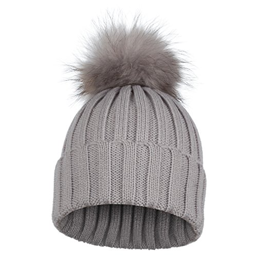 LULU Fine Rib Knit Beanie Unisex Pull-On Hat With 100% Raccoon Fur Colored Detachable Pom Pom - Light Grey Hat With Silver Pom Pom (Hat Pull On Wool)