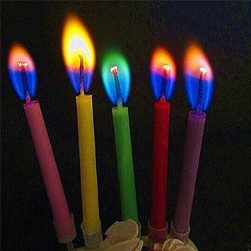 Velas de cumpleaños con diseño de llamas multicolor ...