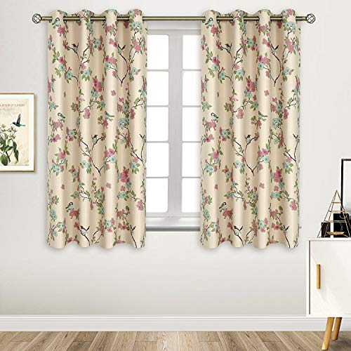 BGment Printed Blackout Curtains for Bedroom with Birds Floral Patterns - Grommet Thermal Insulated Room Darkening Vintage Curtains for Living Room, Set of 2 Panels (52 x 63 Inch, Beige)