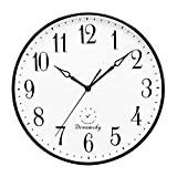 DreamSky 13 1/2 Inch Extra Large Wall Clock, Non - Ticking & Silent Decorative Indoor Kitchen Living Room Round Retro Clock, AA Battery Operated Clocks