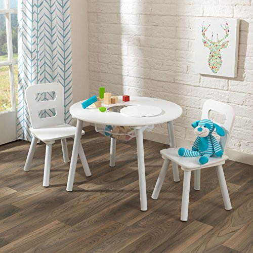 KidKraft Kids Round Table and 2 Chairs Set, - Round W/2 Chairs Table