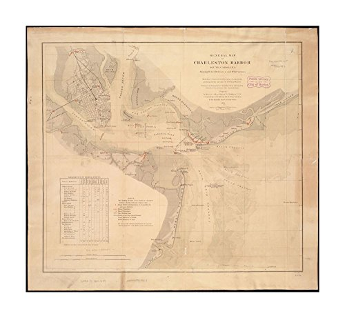 Glass South Carolina Clock (1865 Map Charleston Harbor (bay) General of Charleston Harbor South Carolina showing rebel defences & obstructions Depths shown by gradient tints.Shows location of sunken ships.Includes tabl)