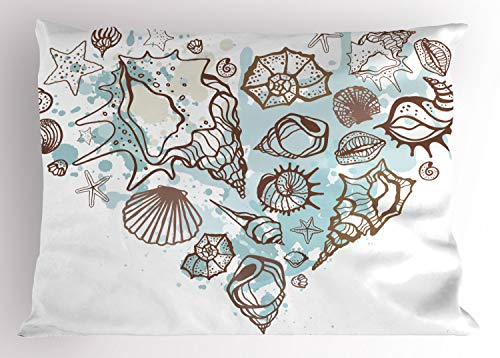 Ambesonne Nautical Pillow Sham, Hand Drawn Seashells Scallop Starfish Whelk Ocean Underwater Life Theme, Decorative Standard King Size Printed Pillowcase, 36 X 20 inches, Brown Warm Taupe - Shell Sea Gold Scallop