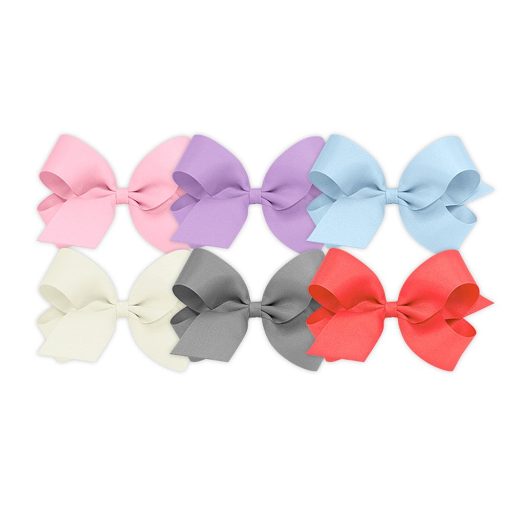 Wee Ones Girls' Large Bow 6 pc Set Solid Grosgrain Variety Pack on a WeeStay Clip - Pearl Pink, Light Orchid, Millennium Blue, Antique White, Gray and Watermelon