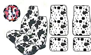 9 piece safari animal print auto interior gift set 2 cow front bucket seat covers
