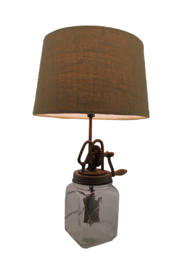 Glass Table Lamps Antique Style Butter Churn Glass And Metal Table Lamp Country Vintage 13 X 22.5 X 13 Inches Clear