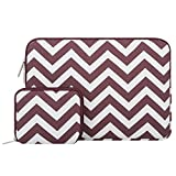 Mosiso Chevron Style Canvas Fabric Laptop Sleeve Case Bag Cover for 13-13.3 Inch MacBook Pro, MacBook Air, Notebook with Small Case, Wine Red