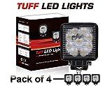 TUFF LED LIGHTS 4 Inch Square 27watt LED Work Lamp Light 1550 Lumen, Off Road, Atv, Utv, Polaris Ranger (pack of 4 )
