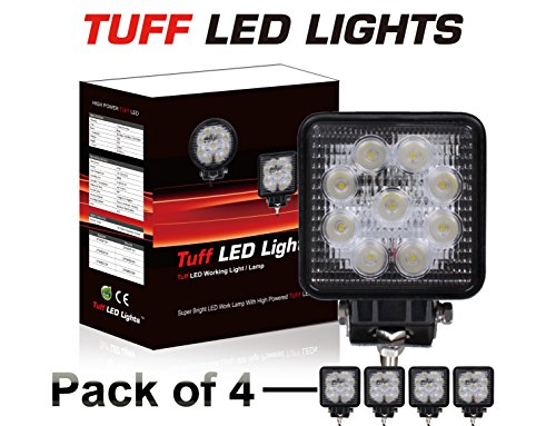 TUFF LED LIGHTS 4 Inch Square 27watt LED Work Lamp Light 1550 Lumen, Off Road, Atv, Utv, Polaris Ranger (pack of 4 )