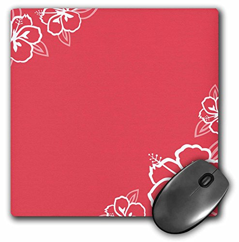 3Drose LLC 8 X 8 X 0.25 Inches Mouse Pad, Persimmon with White Hibiscus Flowers (Mp_110674_1)