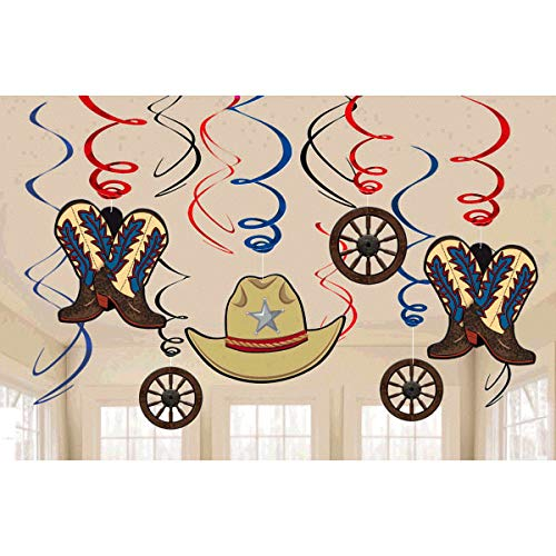 High Riding Western Party Hanging Swirl Ceiling Decoration, Foil, Pack of 12 ()