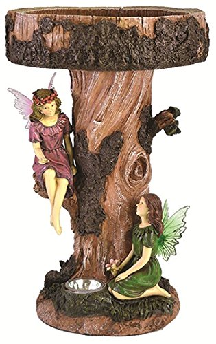 Motionperformance Essentials MP Essentials Fairy Tree Birdbath Table Garden Bird Bath Feature with Solar Light