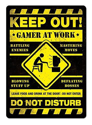 仕事でゲーマーを締め出す 注意看板メタル金属板レトロブリキ家の装飾プラーク警告サイン安全標識デザイン贈り物