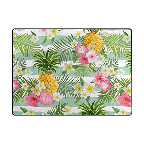 ABLINK Non-slip Area Rugs Home Decor, Stylish Pineapple and Tropical Hawaiian Flowers Durable Floor Mat Living Room Bedroom Carpets Doormats 80 x 58 inches (Durable Tropical Rug)