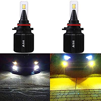 Alla Lighting 8000LM H10 9145 LED Switchback Fog Lights Bulbs Extremely Super Bright Dual Color 6000K Xenon White / 3000K Yellow Switch PY20D 9140 9045 9040 Fog Lights Replacement: Automotive