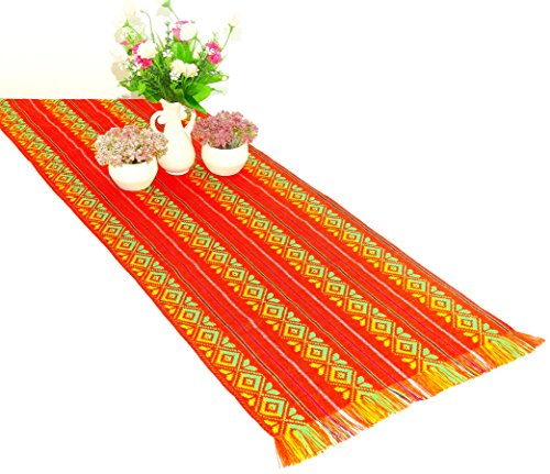 Orange Mexican Table Runner, Aztec Table Cloth, Mexican Wedding, Day of the Dead Party Decor, Colorful Fiesta Decorations, 1472 Inches. by MexFabricSupplies