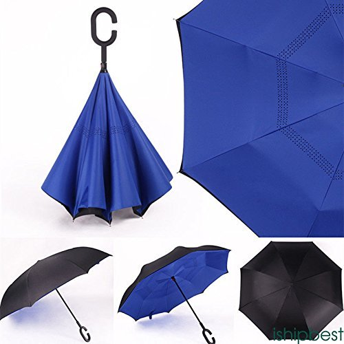 Wii Blue Sleeves (XENO-Reverse Parasols Sunny and Rainy Umbrella Windproof Inverted Folding Umbrella(blue))