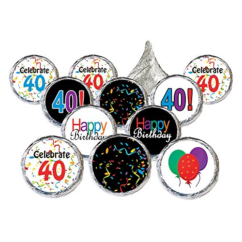 (40th Birthday Party Favor Stickers - Multi-Colored (324 Count))