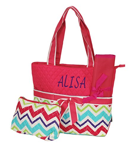 Personalized Quilted Boys and Girls Diaper Tote Bags (Multi Chevron Pink Trim) ()