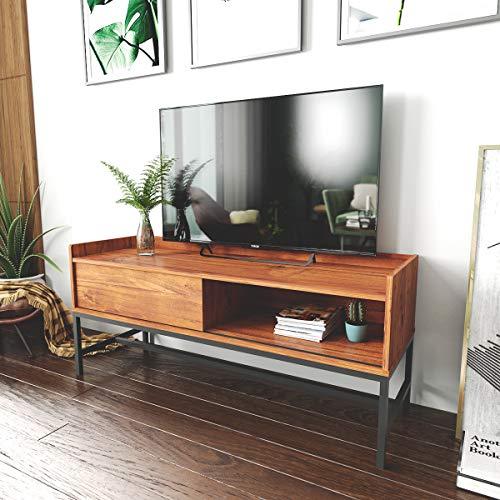 Roomfitters Mid Century Media Console/TV Stand, Open Storage W/Sliding Door, Walnut
