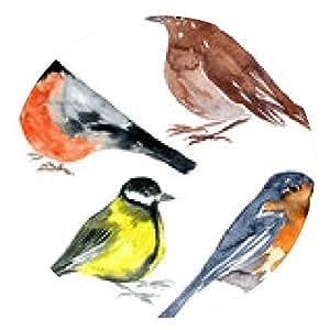 alfombrilla de ratón conjunto de las aves de dibujo acuarela - ronda - 20cm