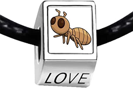 Chicforest Silver Plated Cartoon Lovely Ant Photo LOVE Charm Beads Fit Pandora Chamilia Biagi Charm Bracelet