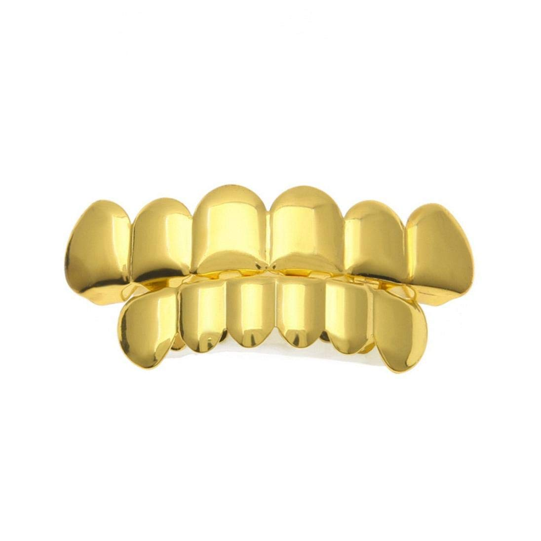 1 set uomo donna oro placcato Hip Hop Denti Grillz Top Bottom Grill Griglie Denti (Oro)