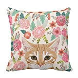 Emvency Throw Pillow Cover Orange Portrait Tabby Cat Spring Florals Cute Lady Person Decorative Pillow Case Home Decor Square 16 x 16 Inch Pillowcase