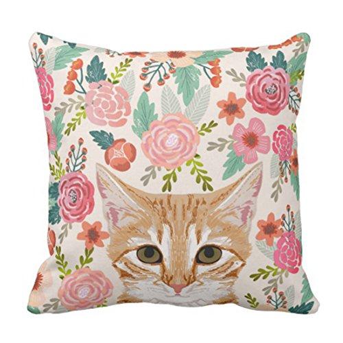 (Emvency Throw Pillow Cover Orange Portrait Tabby Cat Spring Florals Cute Lady Person Decorative Pillow Case Home Decor Square 20 x 20 Inch Pillowcase)