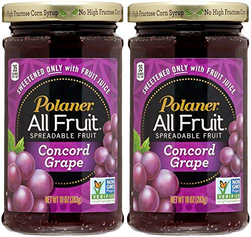 Polaner Grape All Fruit, Spreadable Fruit Grape, Sweetened Only With Fruit Juice, 10oz Glass Jar (Pack of 2, Total of 20 ()