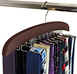 SunTrade Wooden Tie Hanger,24 Tie Organizer Rack Hanger Holder Hook (Black, 24 Hooks)