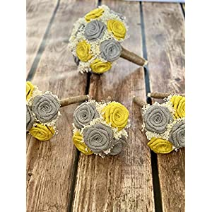 Yellow & Light Gray Wedding Bouquets (Choose Bridesmaids + Bridals) Rustic Wedding Bouquets, Burlap Wedding Bouquets, Alternative Bouquets, Bridesmaids Bouquets, Bouquets 87