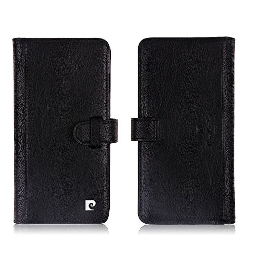 Pierre Cardin Premium Genuine Distressed Leather Flip Folio Stand Wallet Case with Money Credit Card Holders For iPhone 6 Plus/6S Plus 5.5 Inch Black