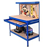 Blue Working Bench With Drawer And Peg Board Work Bench Tool Storage Steel Hanging Tool Workshop Table Two Roll Out Drawers Bottom Shelf For Storing Heavy Duty Tools Garage Shop