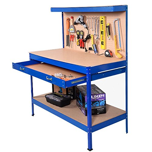 Blue Working Bench With Drawer And Peg Board Work Bench Tool Storage Steel Hanging Tool Workshop Table Two Roll Out Drawers Bottom Shelf For Storing Heavy Duty Tools Garage Shop - Preschooler Shelf Storage