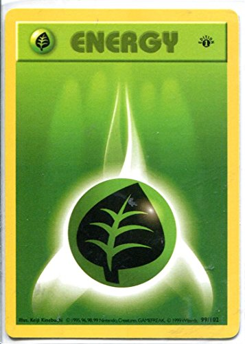 Pokemon Base Set 1st Edition Common Card #99/102 Grass Energy