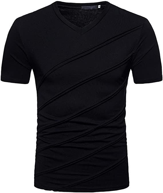 Herren T-Shirt Casual Jersey Einfarbig Rundhals Kurzarm-Shirt Männer-Shirt