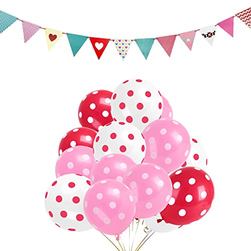 Polka Dot Balloons Set of 100 Pink White Red Latex Balloon with 1 mix Pennant Flags for Festival Christmas Wedding Birthday Party -