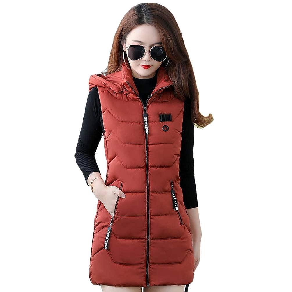 Yuncai Women Winter Gilet Long Hooded Quilted Vest Hooded Zip Up Jacket Coat Bodywarmer