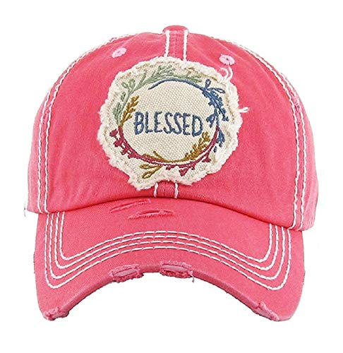 KB Jp Adjustable Blessed Floral Patch Vintage Distressed Western Womens Hat Cap (Pink Red) -
