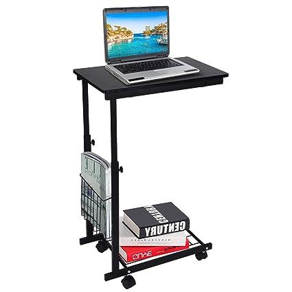 Ejoyous Mesa de escritorio ajustable con ruedas desmontables, mesa ...
