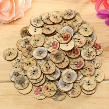 Wood Bloom Push Button - 100pcs Mixed Color Wooden Flower Sewing Button Diy Craft Bag Hat Cloth Decoration - Peak Clitoris Awkward Efflorescence Woody Blossom Clit by Unknown