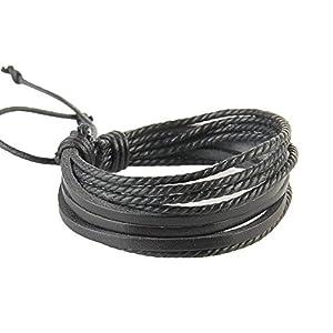 Caolator - Bracciali stile retrò, in cuoio, tessuto e corda intrecciata, regolabili, multistrato, unisex, ideale come… 1 spesavip